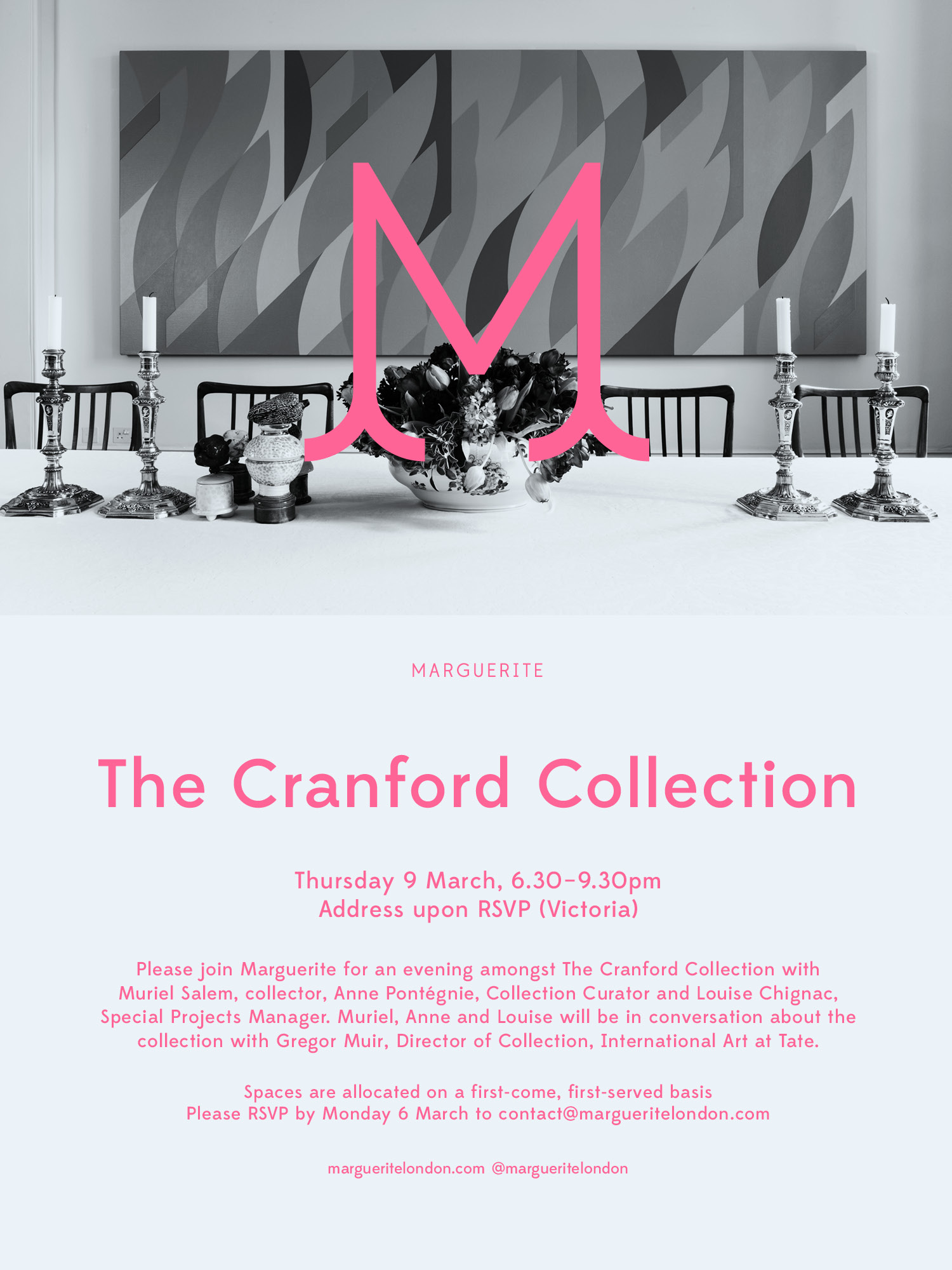 Marguerite Invitation to The Cranford Collection, Thursday 9 March 2017